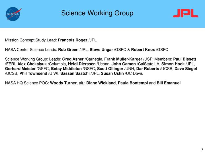 Science working group