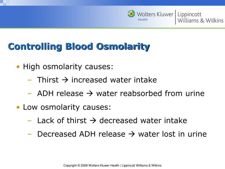 Controlling Blood Osmolarity