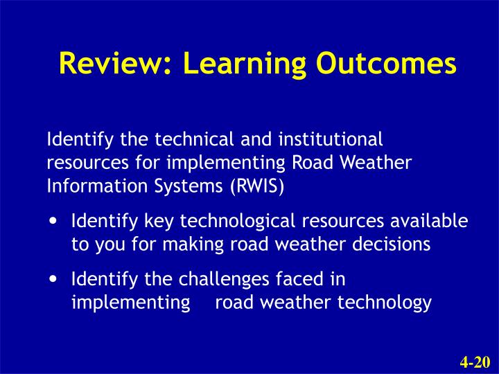 Review: Learning Outcomes