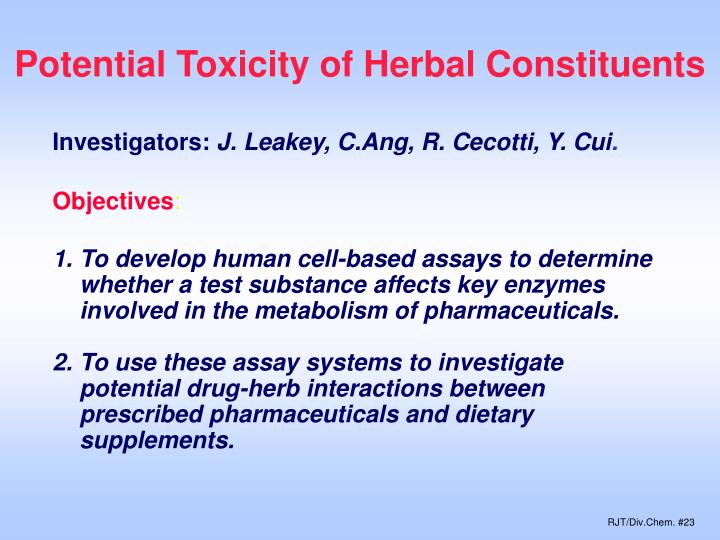 Potential Toxicity of Herbal Constituents