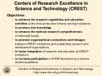 centers of research excellence in science and technology crest