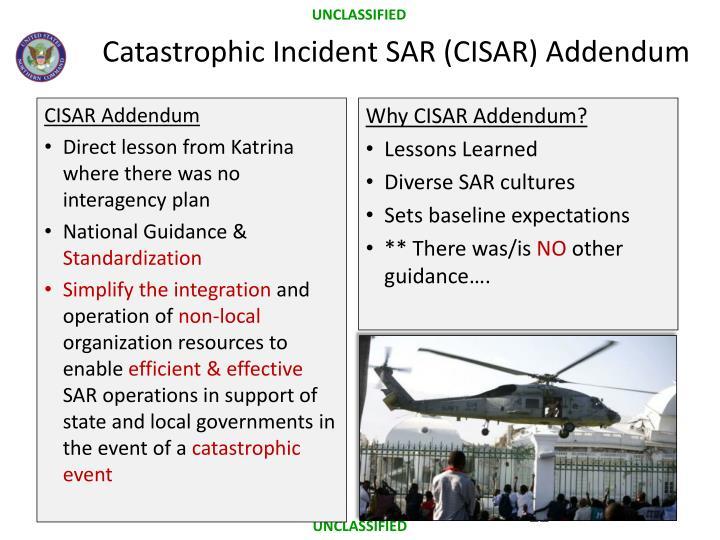 Catastrophic Incident SAR (