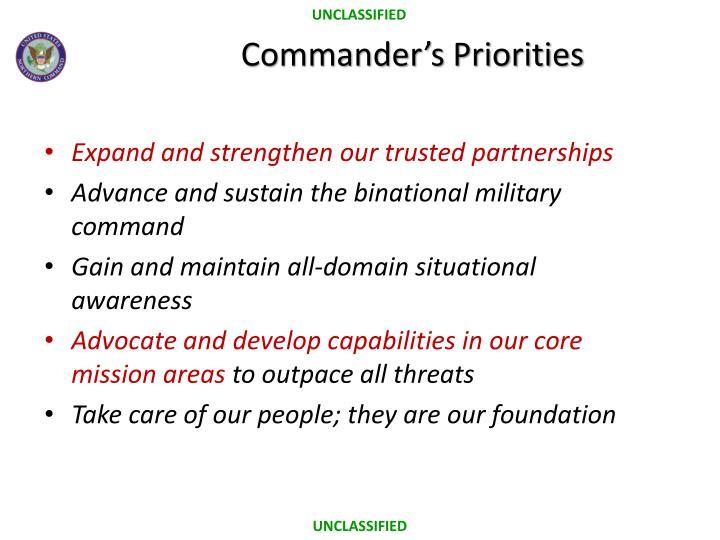 Commander s priorities