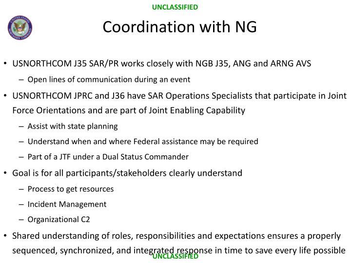 USNORTHCOM J35 SAR/PR works closely with NGB J35, ANG and ARNG AVS