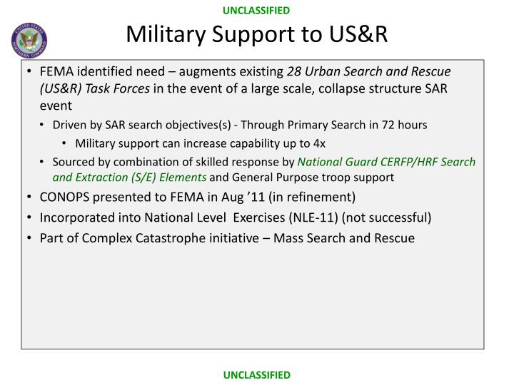 Military Support to US&R