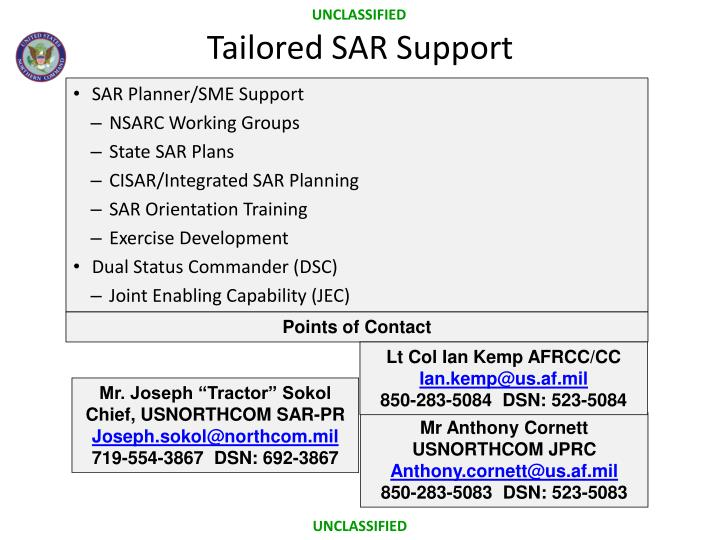 Tailored SAR Support