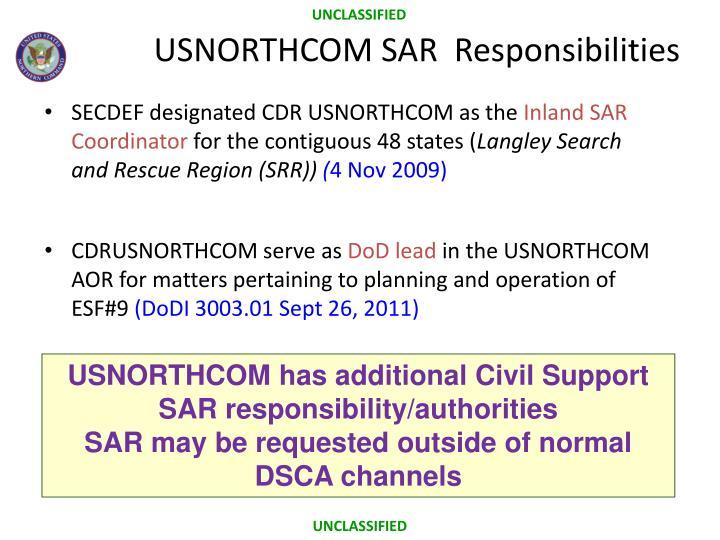 USNORTHCOM SAR  Responsibilities