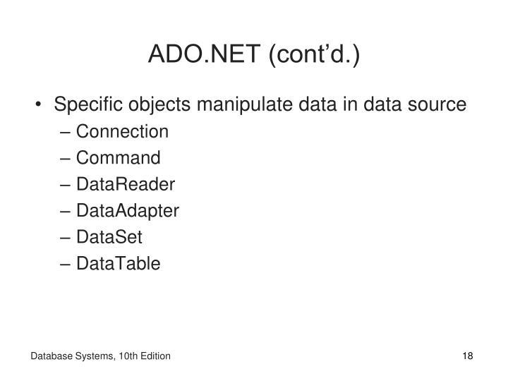 ADO.NET (cont'd.)