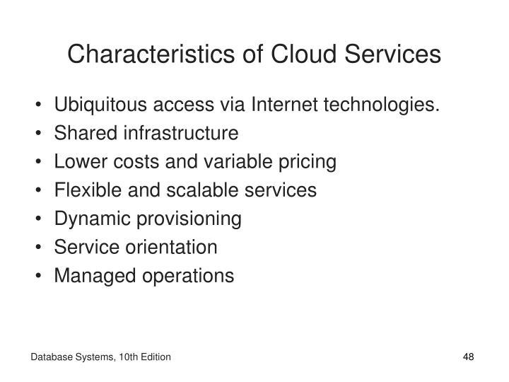 Characteristics of Cloud Services