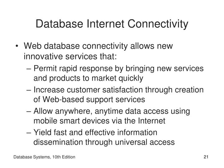 Database Internet Connectivity