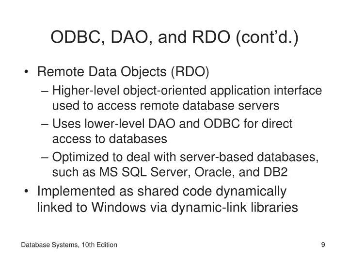 ODBC, DAO, and RDO (cont'd.)