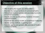 objective of this session