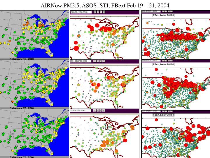 AIRNow PM2.5, ASOS_STI, FBext Feb 19 – 21, 2004