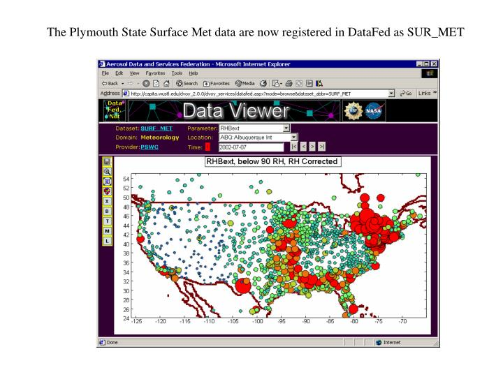 The plymouth state surface met data are now registered in datafed as sur met