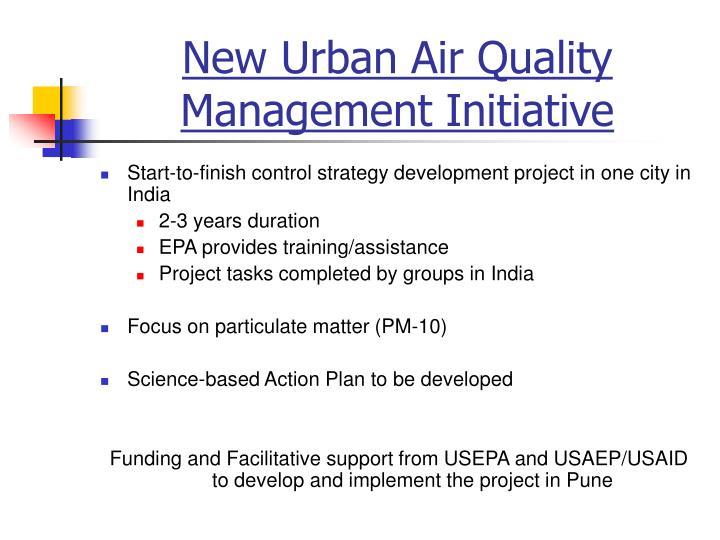 New Urban Air Quality Management Initiative