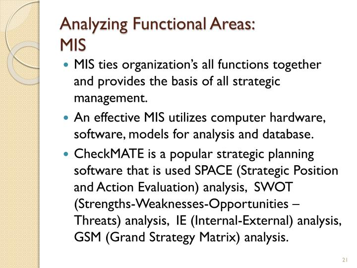 Analyzing Functional Areas: