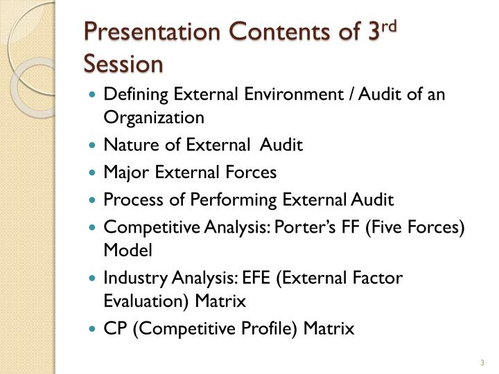 Presentation contents of 3 rd session