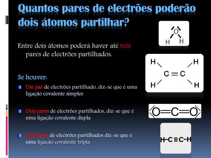 Quantos pares de electrões poderão dois átomos partilhar?