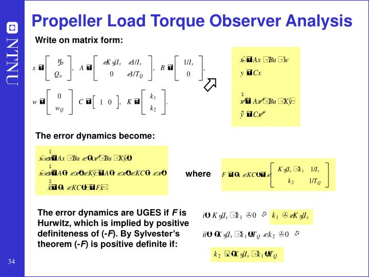 Propeller Load Torque Observer Analysis