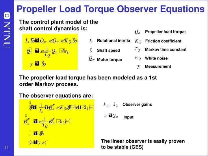 Propeller Load Torque Observer Equations