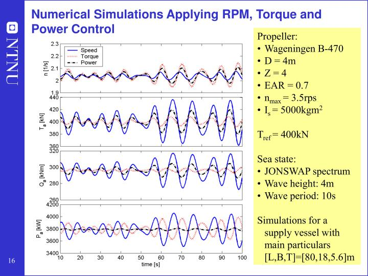 Numerical Simulations Applying RPM, Torque and Power Control
