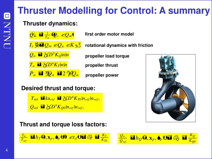 Thruster Modelling for Control: A summary