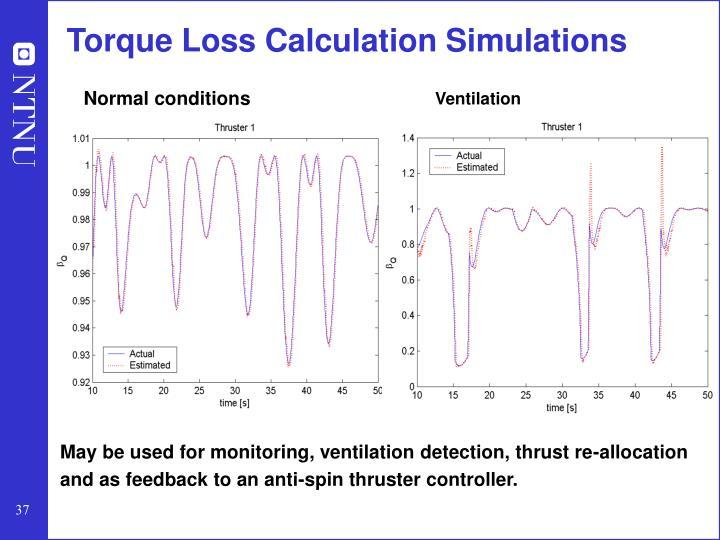 Torque Loss Calculation Simulations