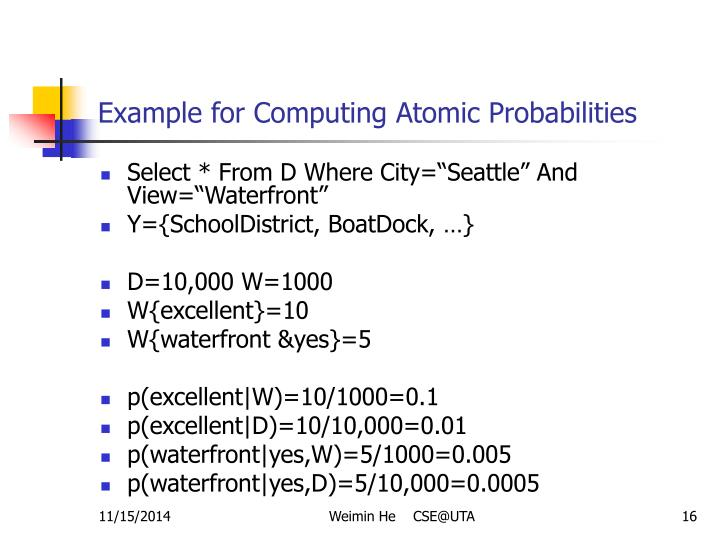 Example for Computing Atomic Probabilities