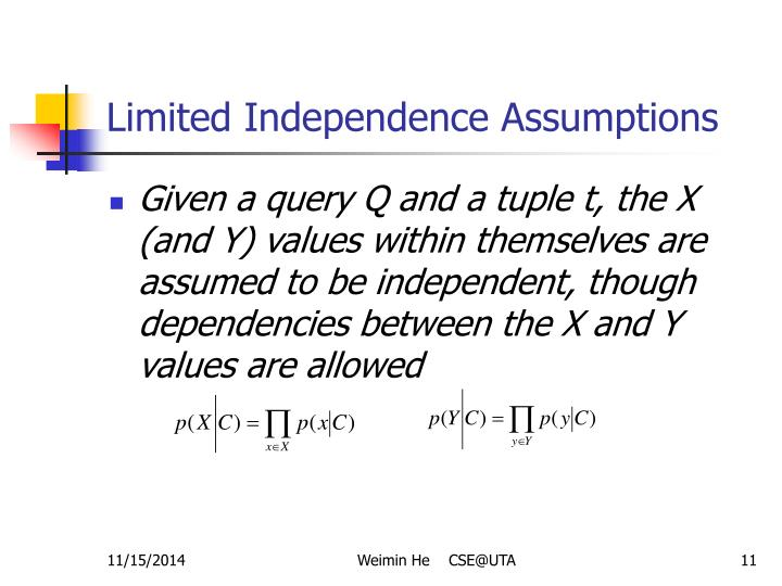 Limited Independence Assumptions