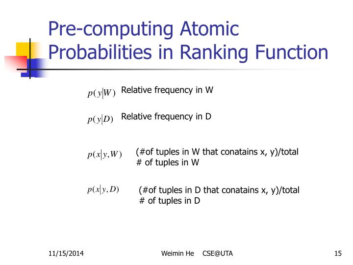 Pre-computing Atomic Probabilities in Ranking Function