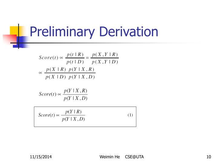 Preliminary Derivation
