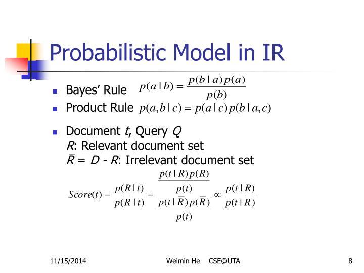 Probabilistic Model in IR