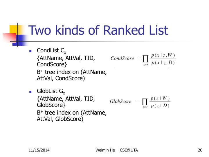 Two kinds of Ranked List