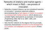 networks of citations and market agents which invest in r d are proxies of innovation