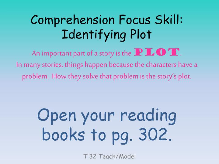 Comprehension Focus Skill: Identifying Plot