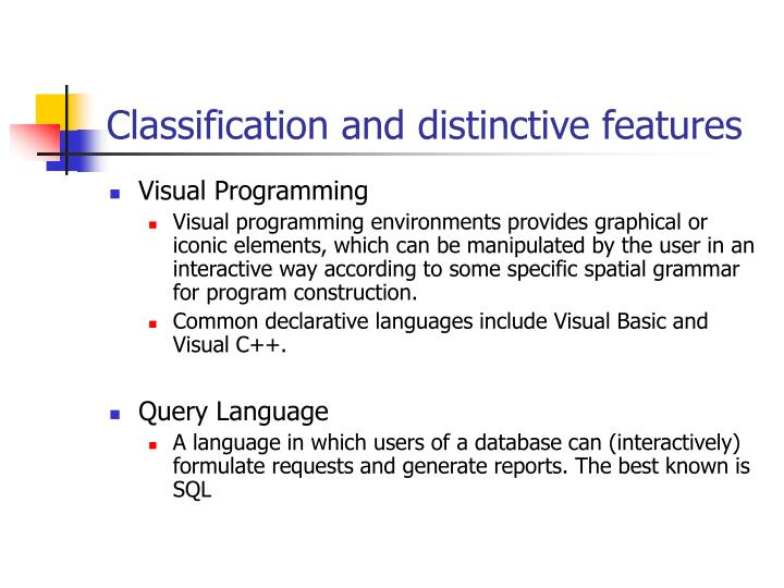 Classification and distinctive features