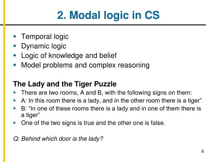 2. Modal logic in CS