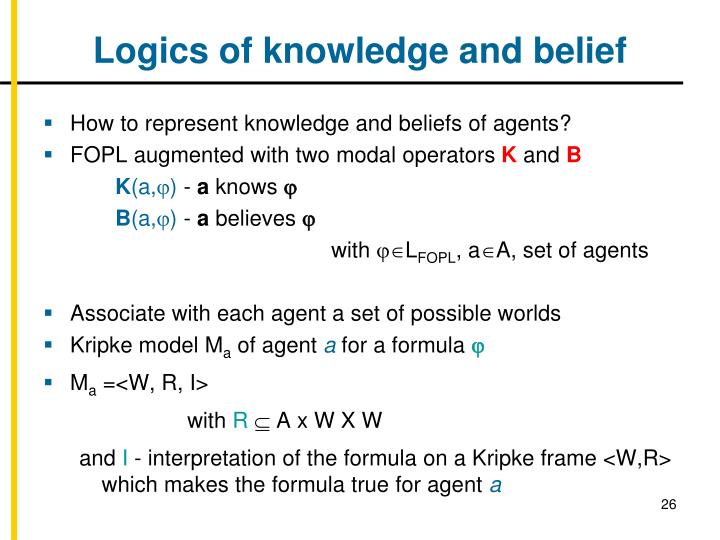 Logics of knowledge and belief