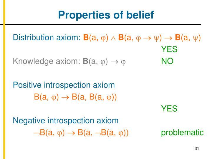 Properties of belief