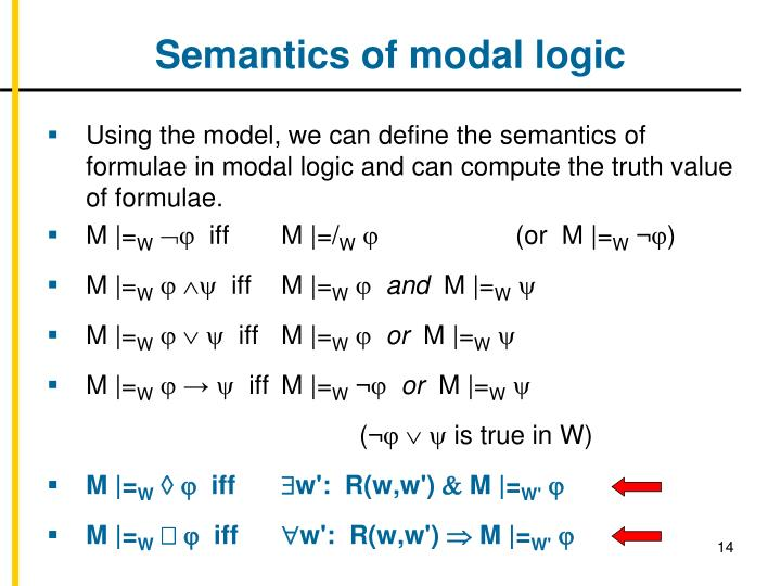 Semantics of modal logic