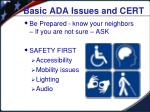 basic ada issues and cert