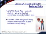 basic ada issues and cert training drills