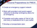 personal preparedness for pwd e