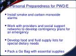 personal preparedness for pwd e1