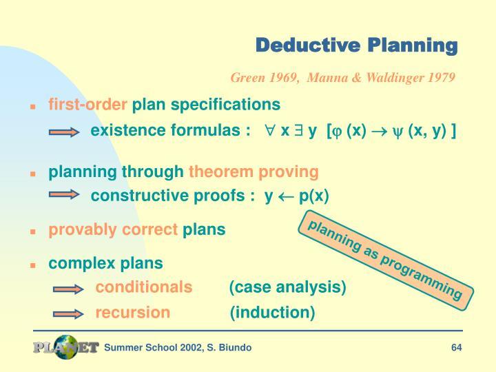 Deductive Planning