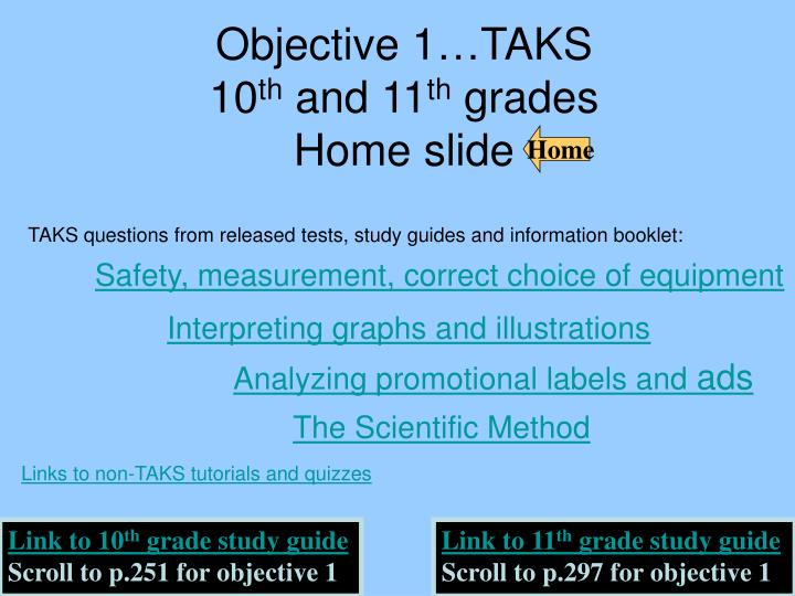 objective 1 taks 10 th and 11 th grades home slide n.