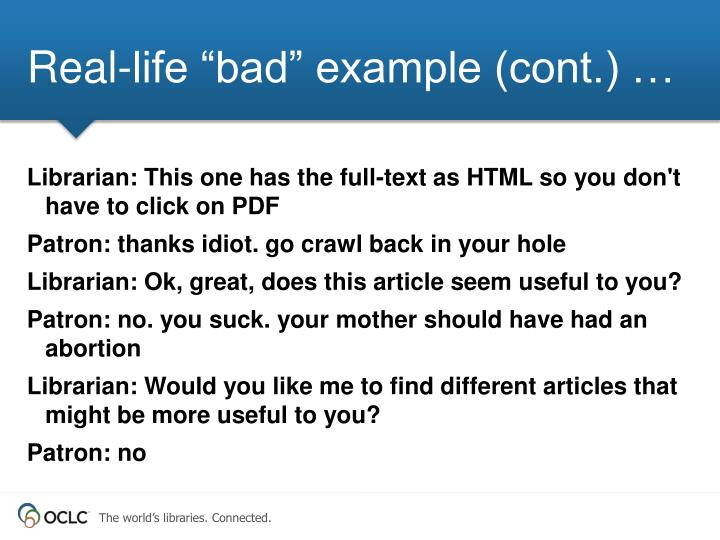 """Real-life """"bad"""" example (cont.) …"""
