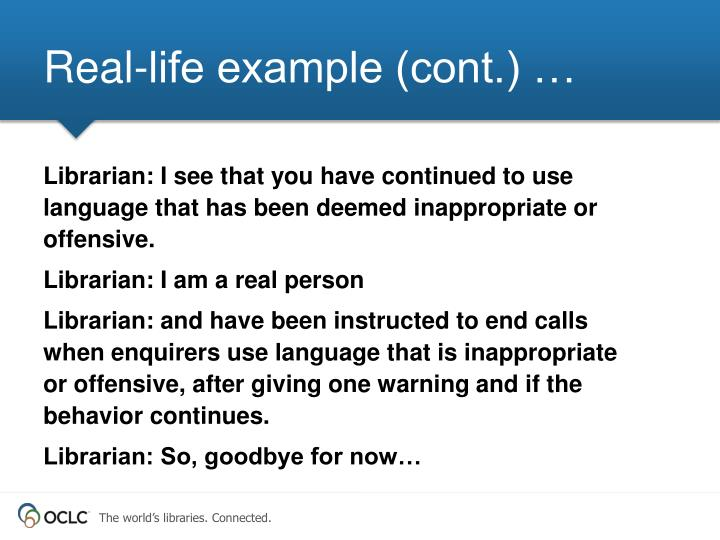 Real-life example (cont.) …