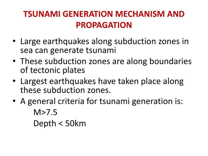 Tsunami generation mechanism and propagation