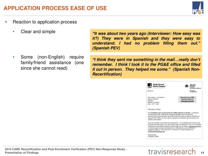 APPLICATION PROCESS EASE OF USE